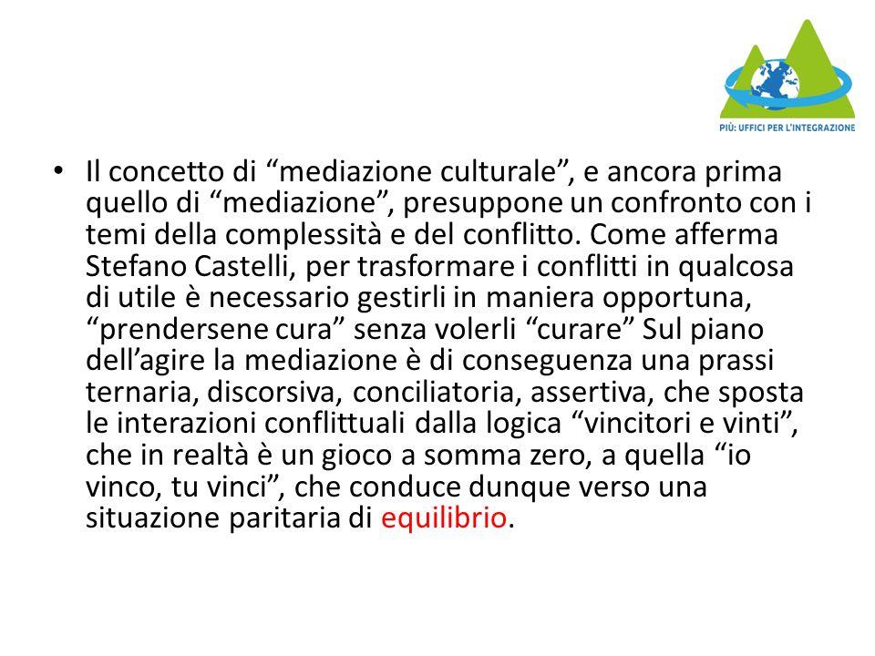 Il concetto di mediazione culturale , e ancora prima quello di mediazione , presuppone un confronto con i temi della complessità e del conflitto.