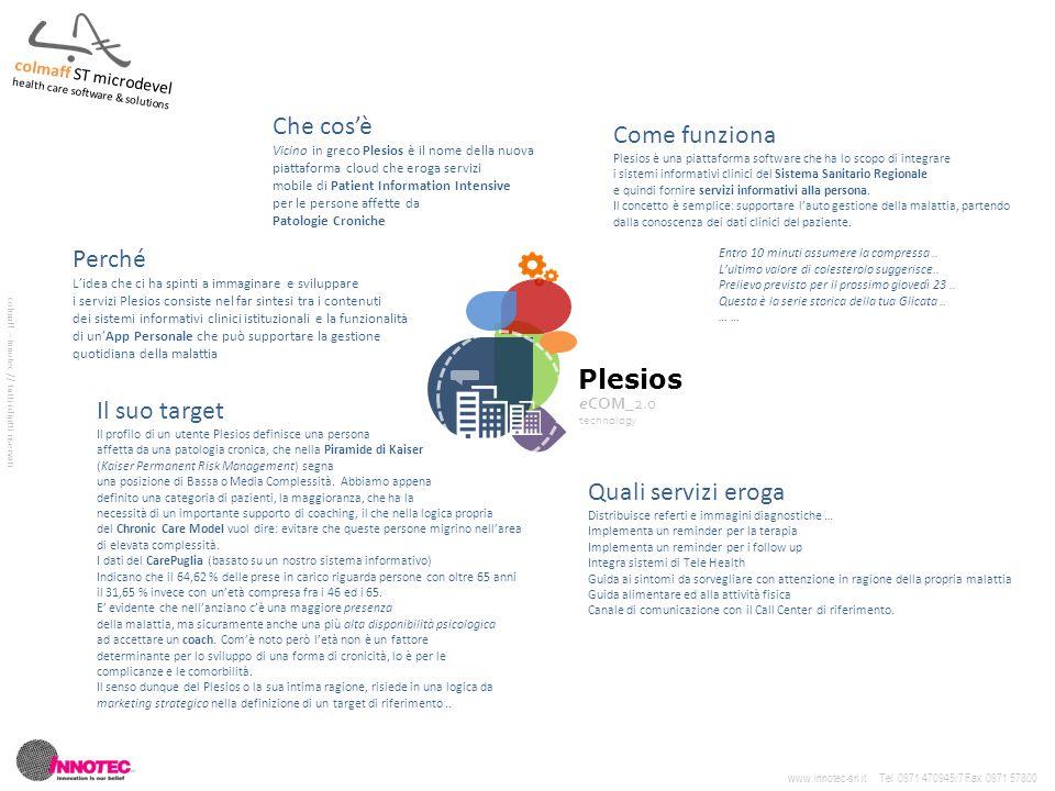 Plesios eCOM_2.0 technology Che cos'è Vicino in greco Plesios è il nome della nuova piattaforma cloud che eroga servizi mobile di Patient Information