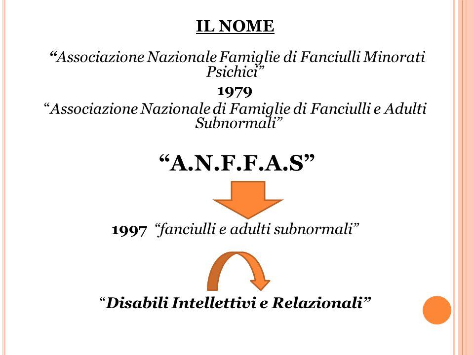 IL NOME Associazione Nazionale Famiglie di Fanciulli Minorati Psichici 1979 Associazione Nazionale di Famiglie di Fanciulli e Adulti Subnormali A.N.F.F.A.S 1997 fanciulli e adulti subnormali Disabili Intellettivi e Relazionali