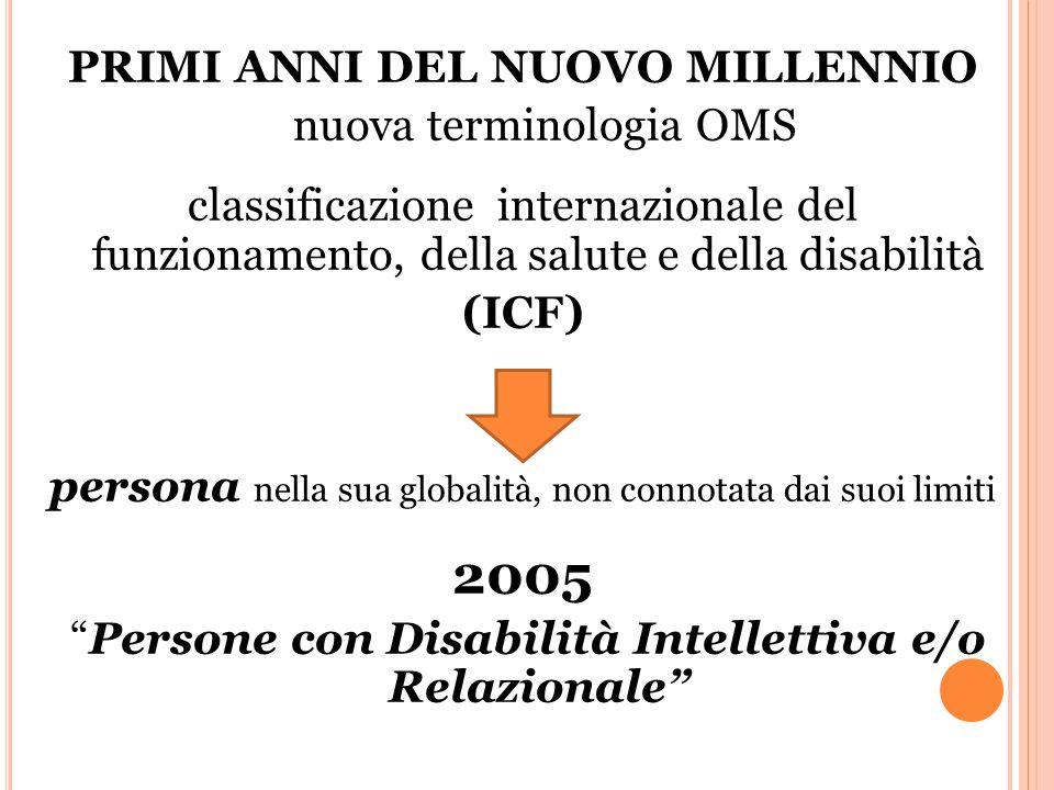 PRIMI ANNI DEL NUOVO MILLENNIO nuova terminologia OMS classificazione internazionale del funzionamento, della salute e della disabilità (ICF) persona nella sua globalità, non connotata dai suoi limiti 2005 Persone con Disabilità Intellettiva e/o Relazionale