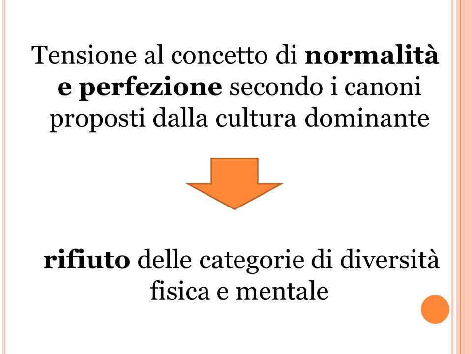 Tensione al concetto di normalità e perfezione secondo i canoni proposti dalla cultura dominante rifiuto delle categorie di diversità fisica e mentale