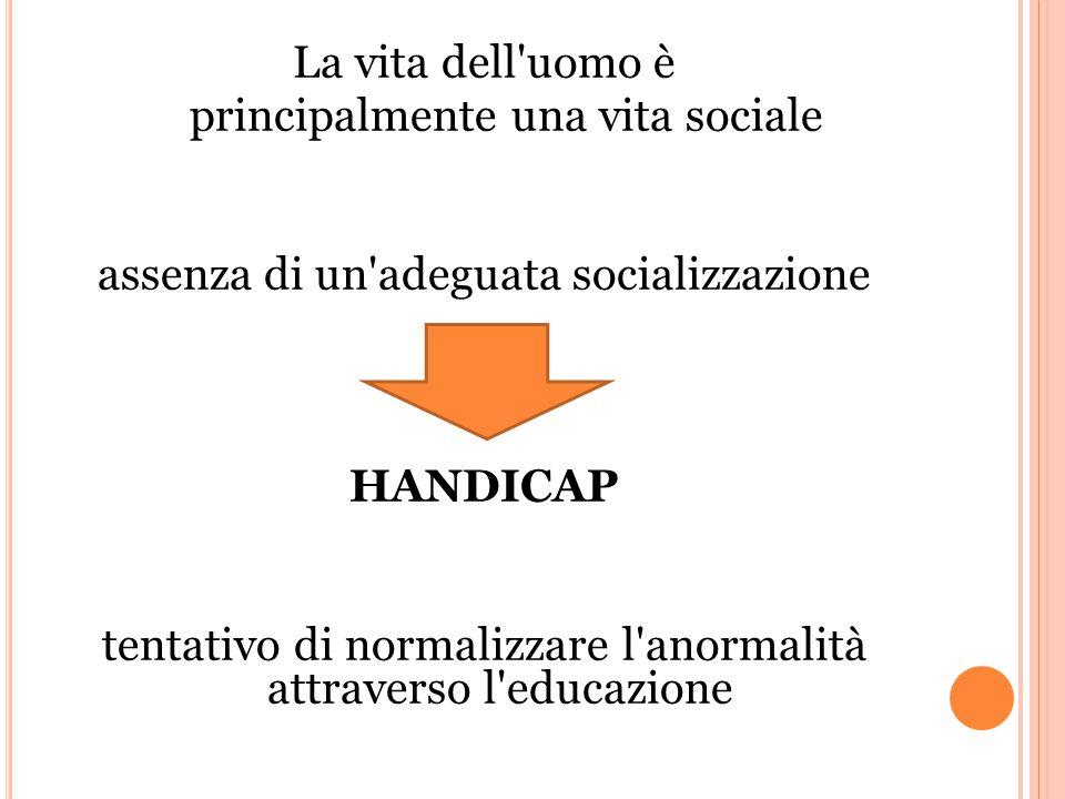La vita dell uomo è principalmente una vita sociale assenza di un adeguata socializzazione HANDICAP tentativo di normalizzare l anormalità attraverso l educazione