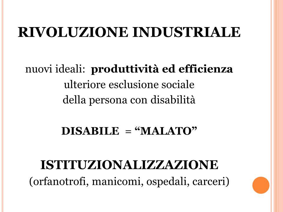 RIVOLUZIONE INDUSTRIALE nuovi ideali: produttività ed efficienza ulteriore esclusione sociale della persona con disabilità DISABILE = MALATO ISTITUZIONALIZZAZIONE (orfanotrofi, manicomi, ospedali, carceri)