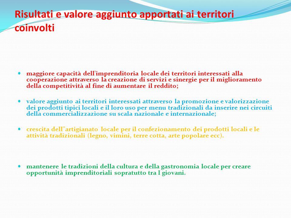 impatto sui territori coinvolti dal progetto di cooperazione Maggiore propensione del territorio (operatori pubblici e privati) alla cooperazione; Sperimentazione attività innovative (attività 4); Accrescimento della metodologia nel lavoro comune (gal); Consolidamento della rete di cooperazione (territori).