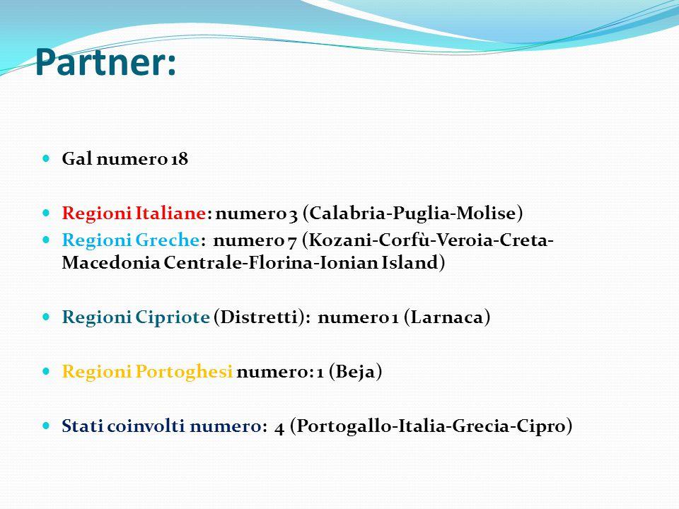 Partner: Gal numero 18 Regioni Italiane: numero 3 (Calabria-Puglia-Molise) Regioni Greche: numero 7 (Kozani-Corfù-Veroia-Creta- Macedonia Centrale-Florina-Ionian Island) Regioni Cipriote (Distretti): numero 1 (Larnaca) Regioni Portoghesi numero: 1 (Beja) Stati coinvolti numero: 4 (Portogallo-Italia-Grecia-Cipro)