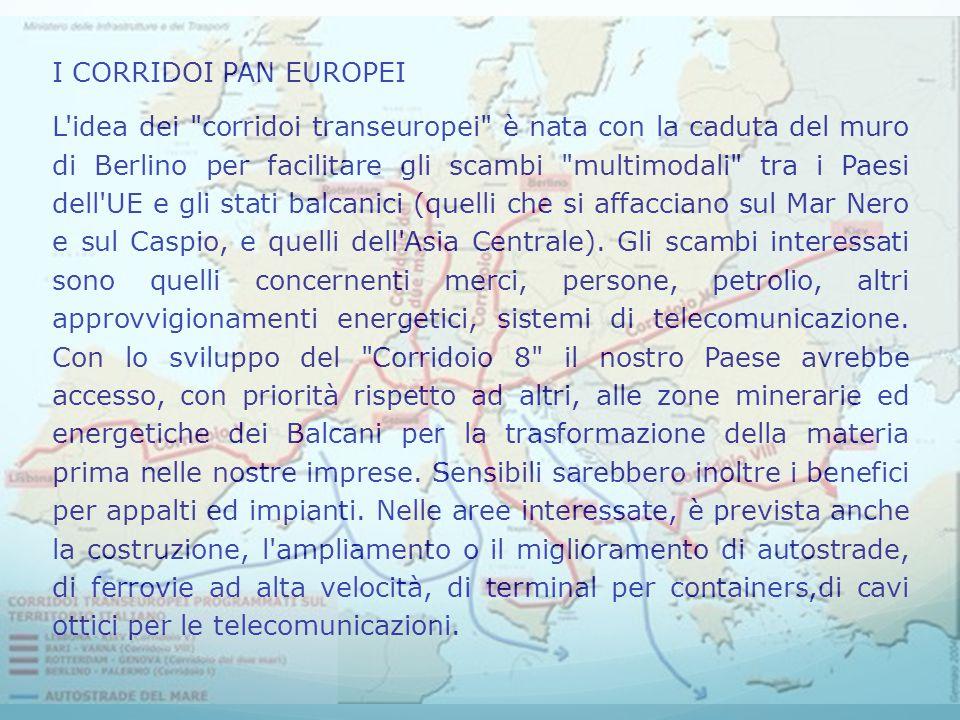 I CORRIDOI PAN EUROPEI L idea dei corridoi transeuropei è nata con la caduta del muro di Berlino per facilitare gli scambi multimodali tra i Paesi dell UE e gli stati balcanici (quelli che si affacciano sul Mar Nero e sul Caspio, e quelli dell Asia Centrale).