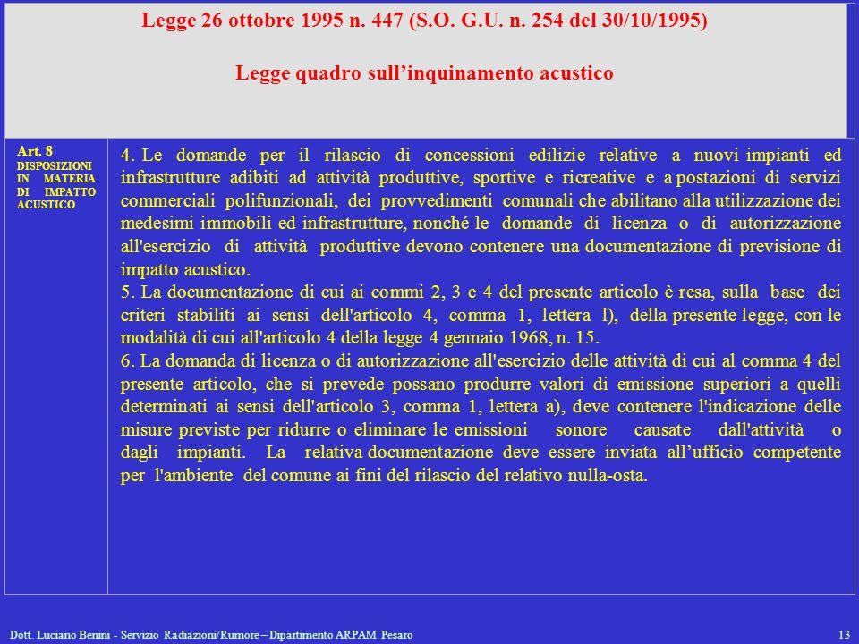 Dott. Luciano Benini - Servizio Radiazioni/Rumore – Dipartimento ARPAM Pesaro13 Legge 26 ottobre 1995 n. 447 (S.O. G.U. n. 254 del 30/10/1995) Legge q