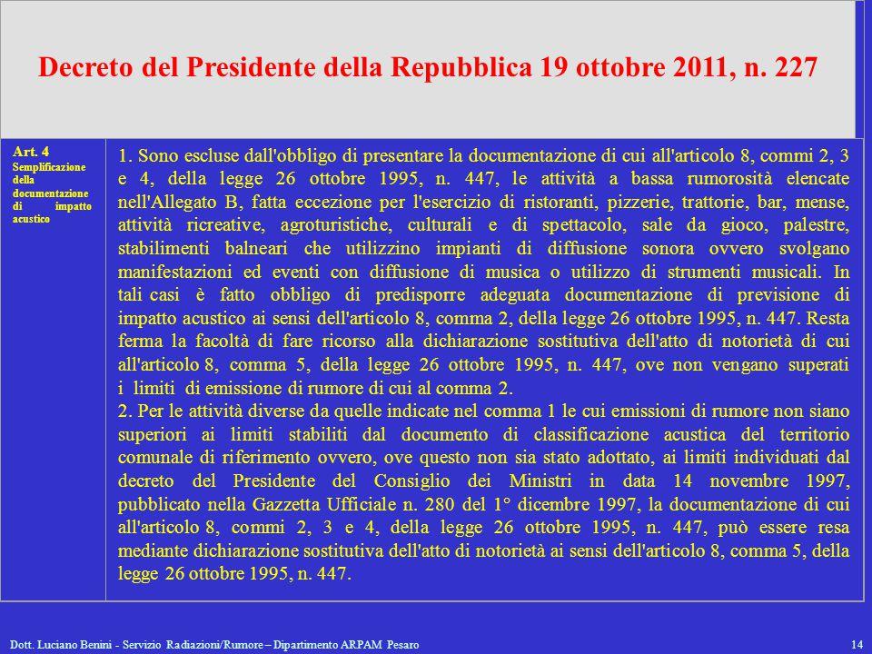 Dott. Luciano Benini - Servizio Radiazioni/Rumore – Dipartimento ARPAM Pesaro14 Decreto del Presidente della Repubblica 19 ottobre 2011, n. 227 Art. 4