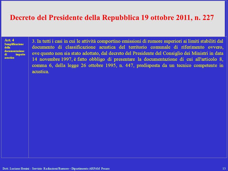 Dott. Luciano Benini - Servizio Radiazioni/Rumore – Dipartimento ARPAM Pesaro15 Art. 4 Semplificazione della documentazione di impatto acustico 3. In