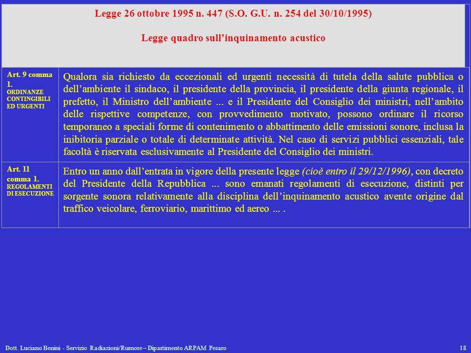 Dott. Luciano Benini - Servizio Radiazioni/Rumore – Dipartimento ARPAM Pesaro18 Legge 26 ottobre 1995 n. 447 (S.O. G.U. n. 254 del 30/10/1995) Legge q