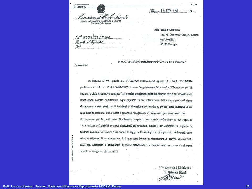 Dott. Luciano Benini - Servizio Radiazioni/Rumore – Dipartimento ARPAM Pesaro21