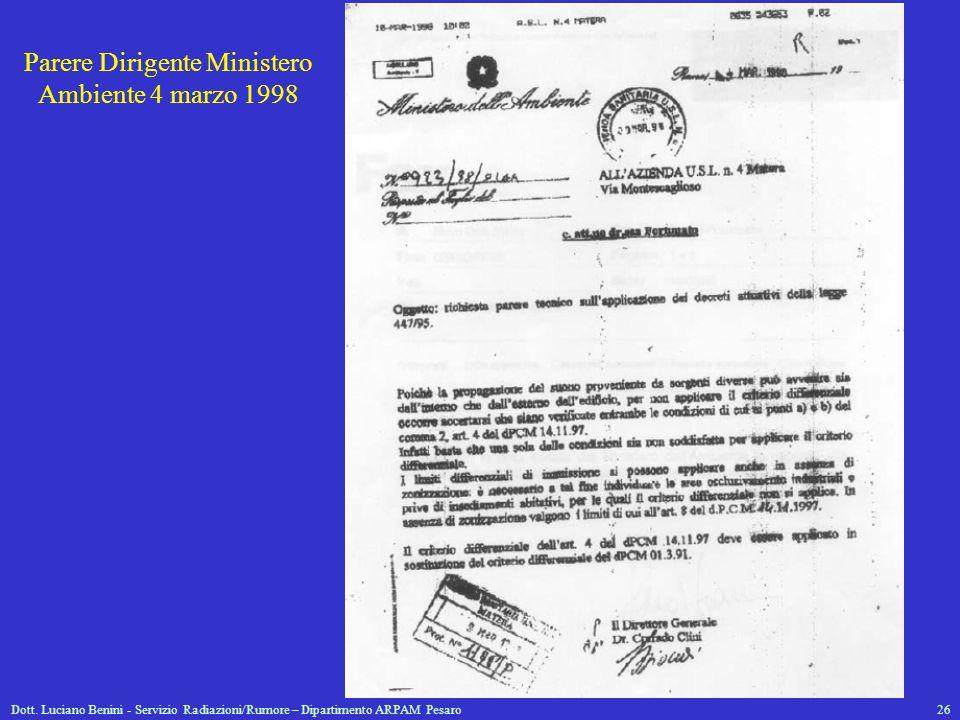 Dott. Luciano Benini - Servizio Radiazioni/Rumore – Dipartimento ARPAM Pesaro26 Parere Dirigente Ministero Ambiente 4 marzo 1998