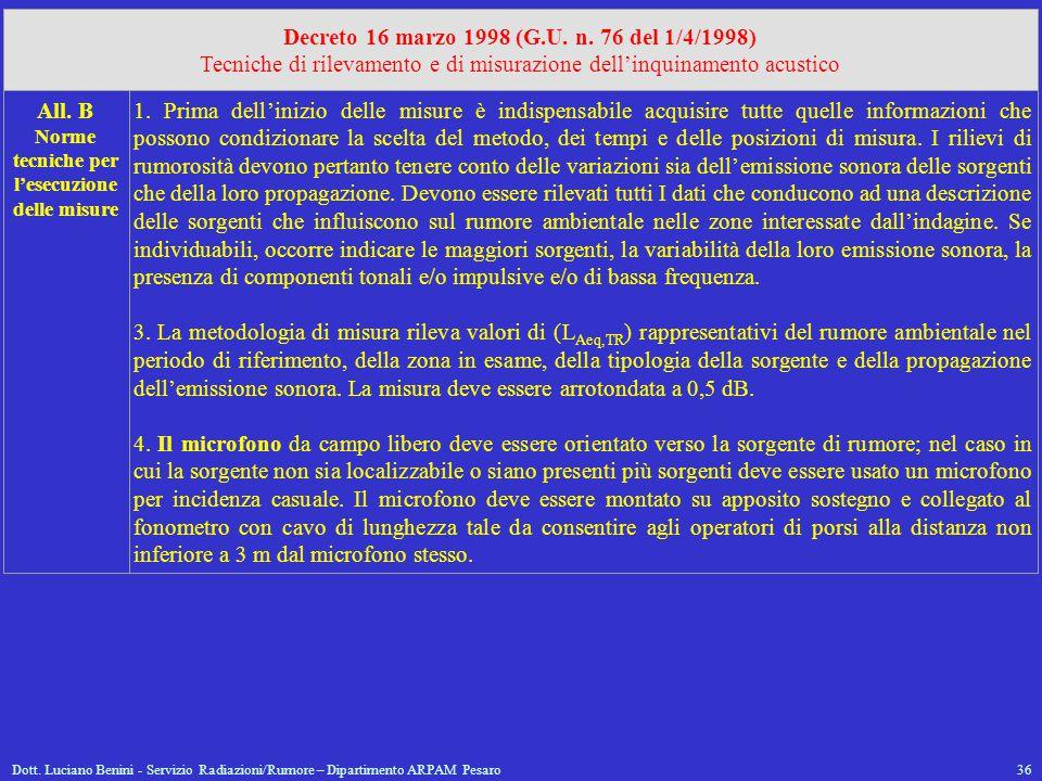 Dott. Luciano Benini - Servizio Radiazioni/Rumore – Dipartimento ARPAM Pesaro36 Decreto 16 marzo 1998 (G.U. n. 76 del 1/4/1998) Tecniche di rilevament