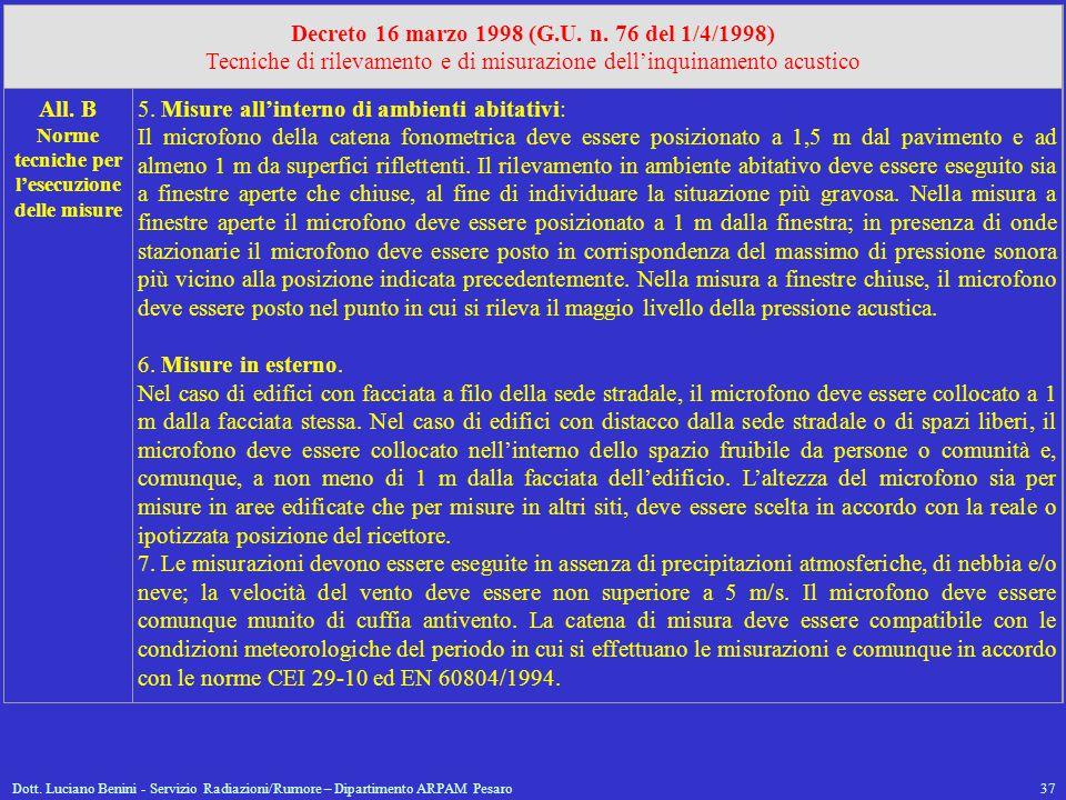 Dott. Luciano Benini - Servizio Radiazioni/Rumore – Dipartimento ARPAM Pesaro37 Decreto 16 marzo 1998 (G.U. n. 76 del 1/4/1998) Tecniche di rilevament