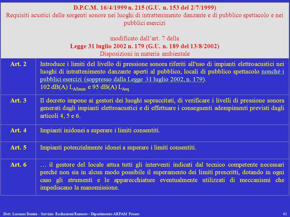 Dott. Luciano Benini - Servizio Radiazioni/Rumore – Dipartimento ARPAM Pesaro41 D.P.C.M. 16/4/1999 n. 215 (G.U. n. 153 del 2/7/1999) Requisiti acustic