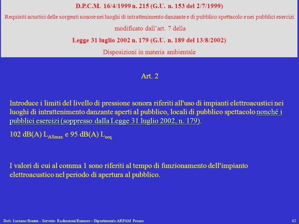 Dott. Luciano Benini - Servizio Radiazioni/Rumore – Dipartimento ARPAM Pesaro42 D.P.C.M. 16/4/1999 n. 215 (G.U. n. 153 del 2/7/1999) Requisiti acustic