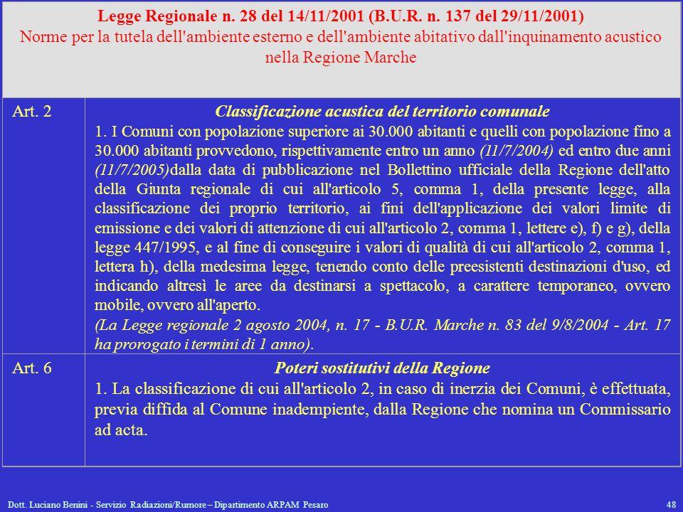 Dott. Luciano Benini - Servizio Radiazioni/Rumore – Dipartimento ARPAM Pesaro48 Legge Regionale n. 28 del 14/11/2001 (B.U.R. n. 137 del 29/11/2001) No