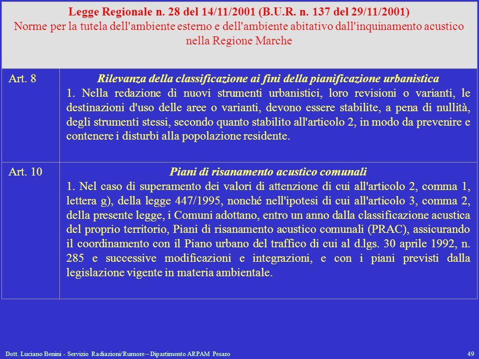 Dott. Luciano Benini - Servizio Radiazioni/Rumore – Dipartimento ARPAM Pesaro49 Legge Regionale n. 28 del 14/11/2001 (B.U.R. n. 137 del 29/11/2001) No