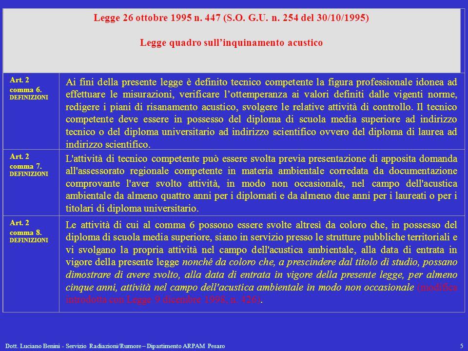 Dott. Luciano Benini - Servizio Radiazioni/Rumore – Dipartimento ARPAM Pesaro5 Legge 26 ottobre 1995 n. 447 (S.O. G.U. n. 254 del 30/10/1995) Legge qu