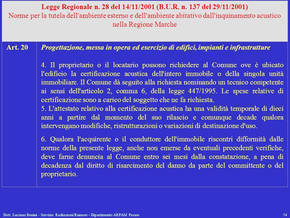 Dott. Luciano Benini - Servizio Radiazioni/Rumore – Dipartimento ARPAM Pesaro54 Legge Regionale n. 28 del 14/11/2001 (B.U.R. n. 137 del 29/11/2001) No