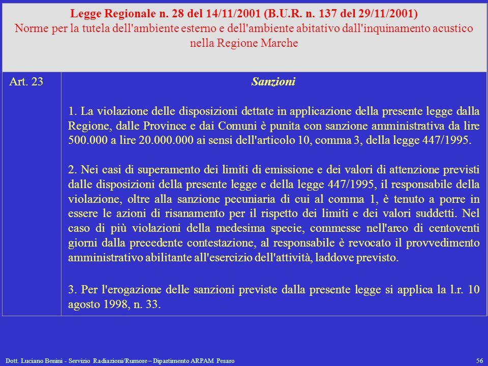 Dott. Luciano Benini - Servizio Radiazioni/Rumore – Dipartimento ARPAM Pesaro56 Legge Regionale n. 28 del 14/11/2001 (B.U.R. n. 137 del 29/11/2001) No