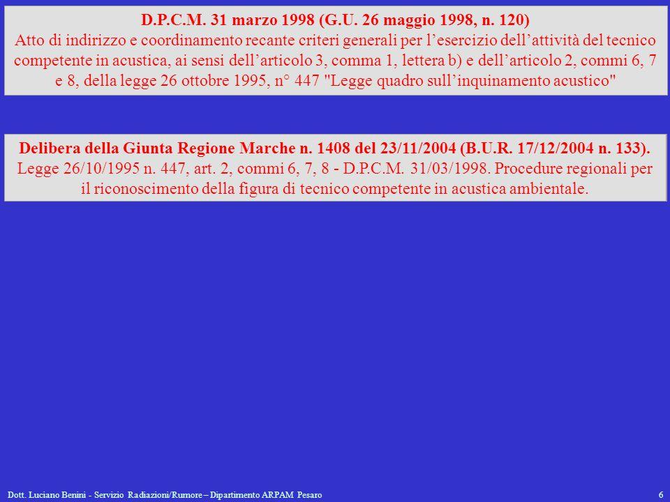 Dott. Luciano Benini - Servizio Radiazioni/Rumore – Dipartimento ARPAM Pesaro6 D.P.C.M. 31 marzo 1998 (G.U. 26 maggio 1998, n. 120) Atto di indirizzo