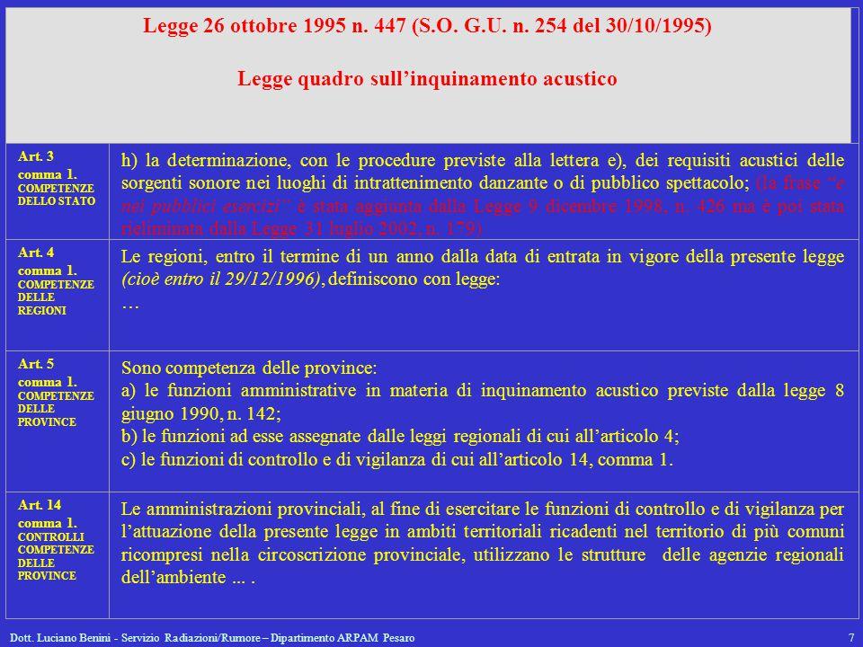 Dott. Luciano Benini - Servizio Radiazioni/Rumore – Dipartimento ARPAM Pesaro7 Legge 26 ottobre 1995 n. 447 (S.O. G.U. n. 254 del 30/10/1995) Legge qu