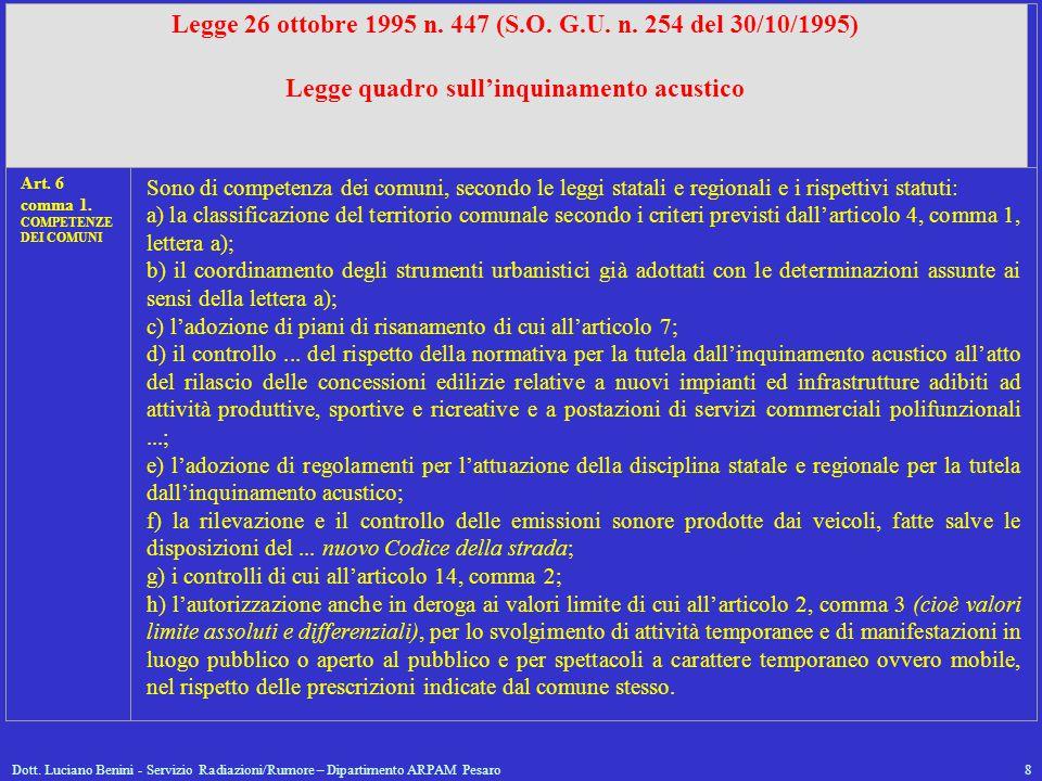 Dott. Luciano Benini - Servizio Radiazioni/Rumore – Dipartimento ARPAM Pesaro8 Legge 26 ottobre 1995 n. 447 (S.O. G.U. n. 254 del 30/10/1995) Legge qu
