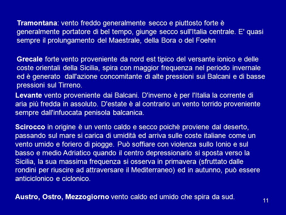 10 Venti dei bacini italiani