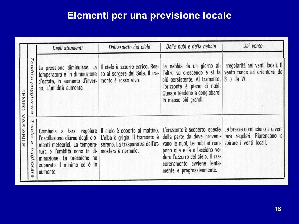 17 Elementi per una previsione locale