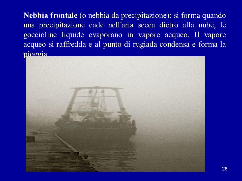 27 Nebbia da evaporazione: è la forma più localizzata e più diffusa in mare, è creata dall aria fredda che passa sull acqua molto più calda.