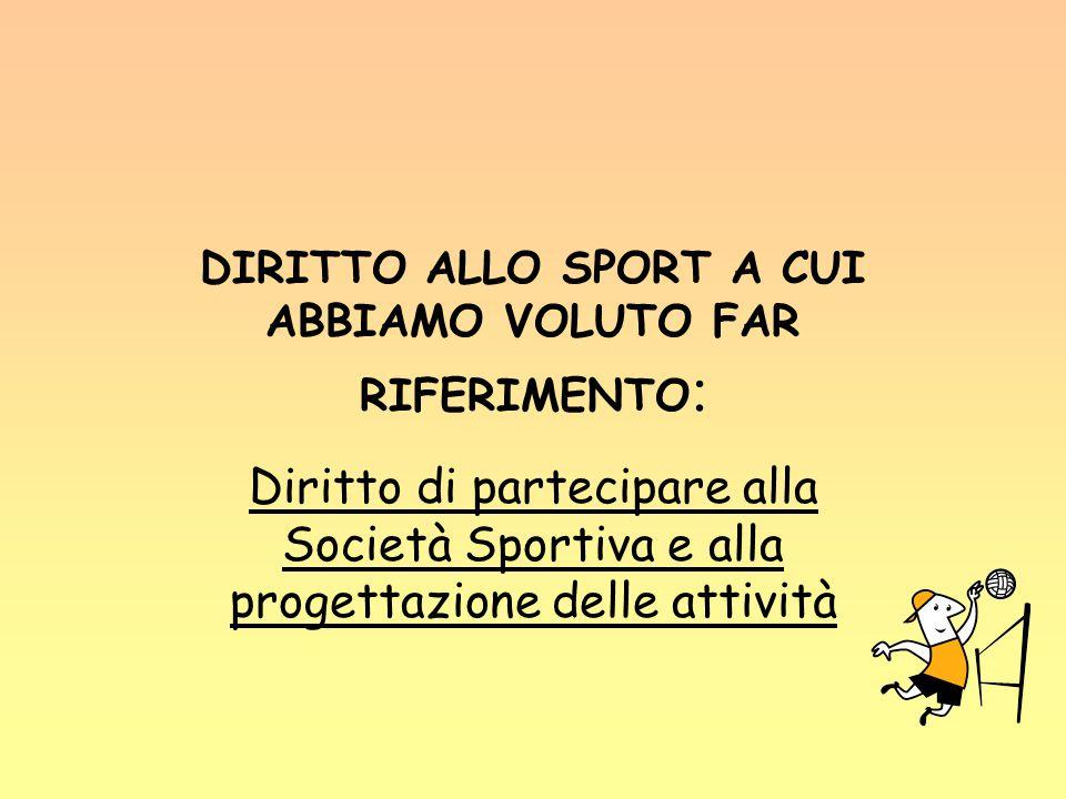 DIRITTO ALLO SPORT A CUI ABBIAMO VOLUTO FAR RIFERIMENTO : Diritto di partecipare alla Società Sportiva e alla progettazione delle attività