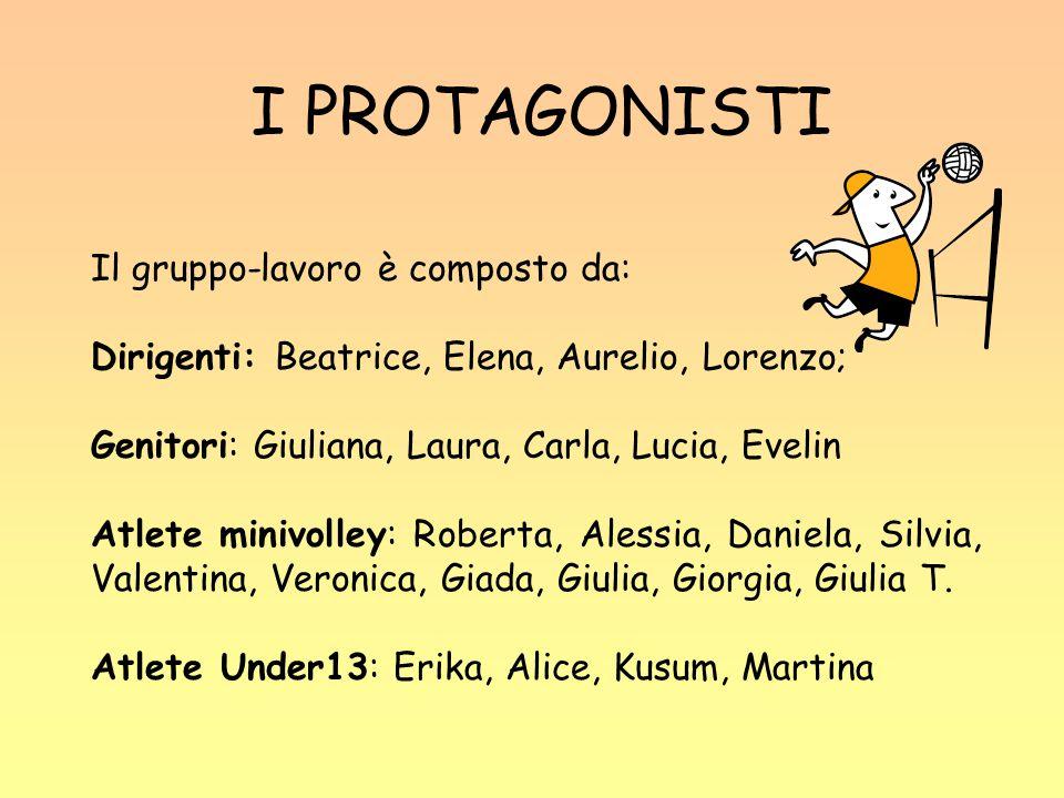 I PROTAGONISTI Il gruppo-lavoro è composto da: Dirigenti: Beatrice, Elena, Aurelio, Lorenzo; Genitori: Giuliana, Laura, Carla, Lucia, Evelin Atlete mi