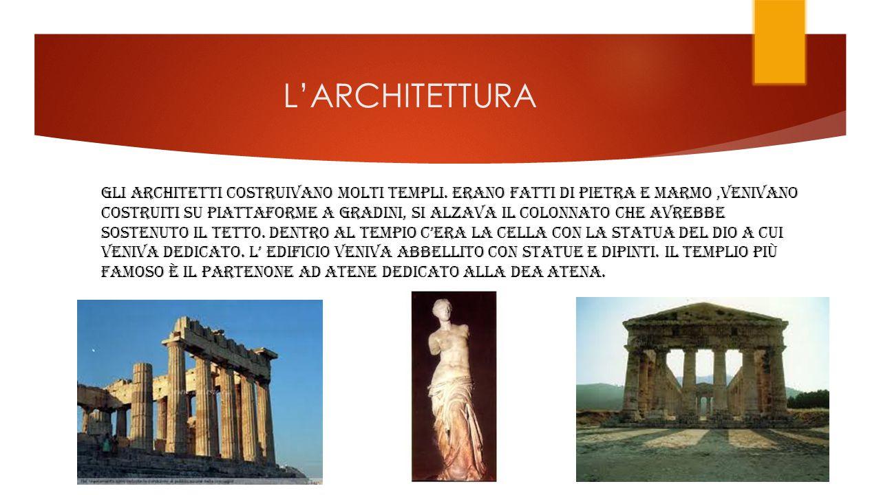 L'ARCHITETTURA GLI ARCHITETTI COSTRUIVANO MOLTI TEMPLI.