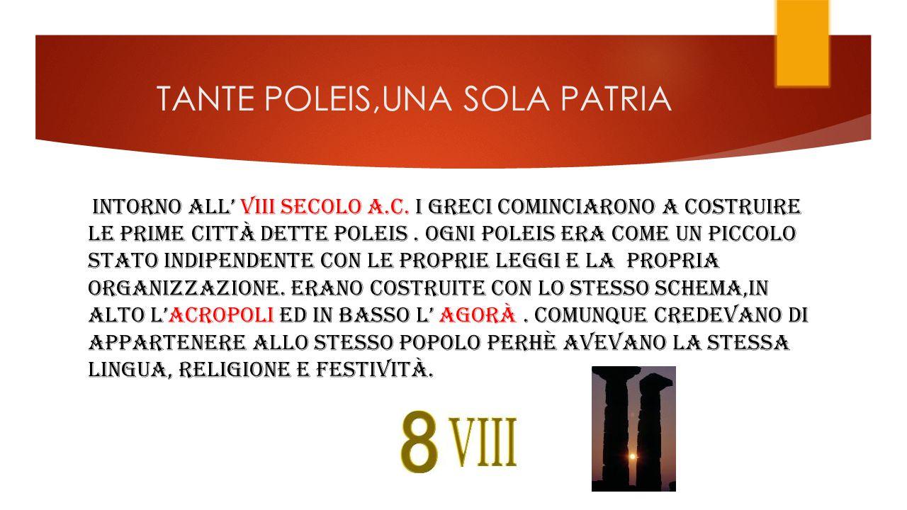 TANTE POLEIS,UNA SOLA PATRIA INTORNO ALL' VIII SECOLO A.C.