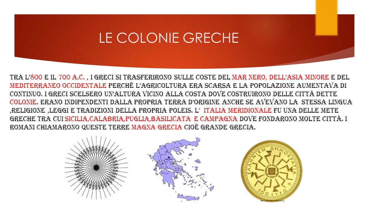 LE COLONIE GRECHE TRA L'800 E IL 700 A.C., I GRECI SI TRASFERIRONO SULLE COSTE DEL MAR NERO, dell'ASIA MINORE E del MEDITERRANEO OCCIDENTALE perché L'agricoltura ERA scarsa E LA POPOLAZIONE AUMENTAVA DI CONTINUO.
