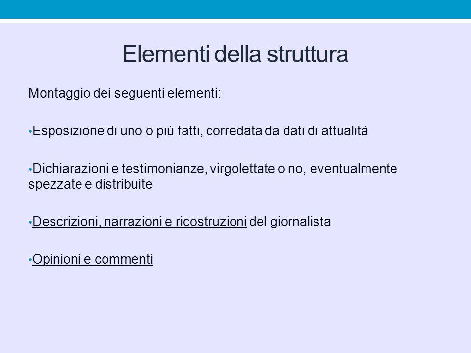 Elementi della struttura Montaggio dei seguenti elementi: Esposizione di uno o più fatti, corredata da dati di attualità Dichiarazioni e testimonianze