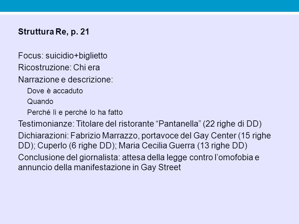 Struttura Re, p. 21 Focus: suicidio+biglietto Ricostruzione: Chi era Narrazione e descrizione: Dove è accaduto Quando Perché lì e perché lo ha fatto T