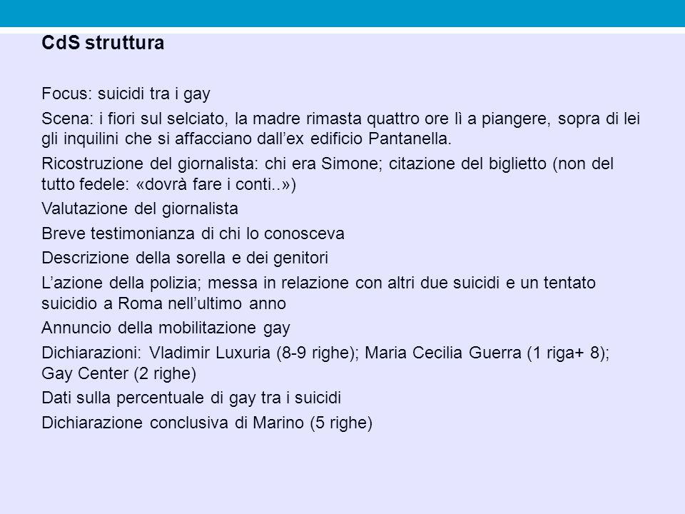 CdS struttura Focus: suicidi tra i gay Scena: i fiori sul selciato, la madre rimasta quattro ore lì a piangere, sopra di lei gli inquilini che si affa