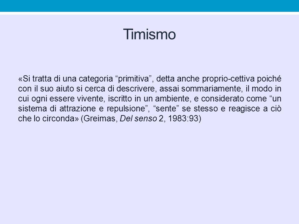 """Timismo «Si tratta di una categoria """"primitiva"""", detta anche proprio-cettiva poiché con il suo aiuto si cerca di descrivere, assai sommariamente, il m"""