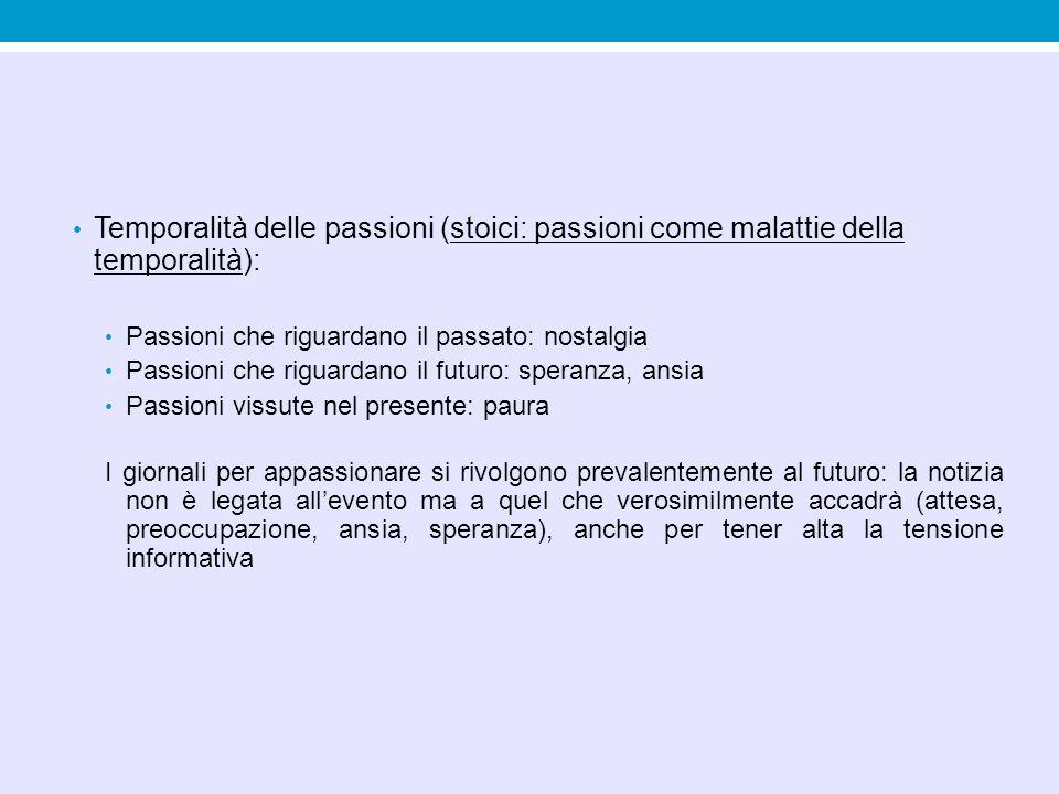 Temporalità delle passioni (stoici: passioni come malattie della temporalità): Passioni che riguardano il passato: nostalgia Passioni che riguardano i