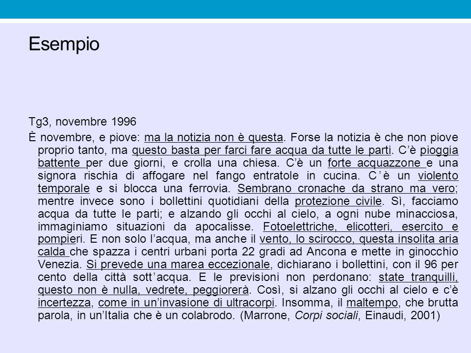 Esempio Tg3, novembre 1996 È novembre, e piove: ma la notizia non è questa. Forse la notizia è che non piove proprio tanto, ma questo basta per farci