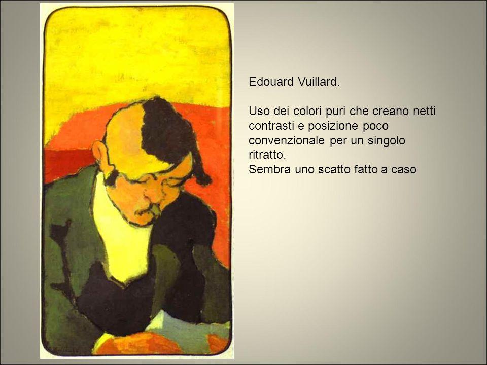 Edouard Vuillard. Uso dei colori puri che creano netti contrasti e posizione poco convenzionale per un singolo ritratto. Sembra uno scatto fatto a cas