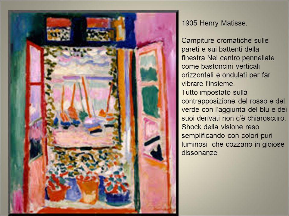1905 Henry Matisse. Campiture cromatiche sulle pareti e sui battenti della finestra.Nel centro pennellate come bastoncini verticali orizzontali e ondu