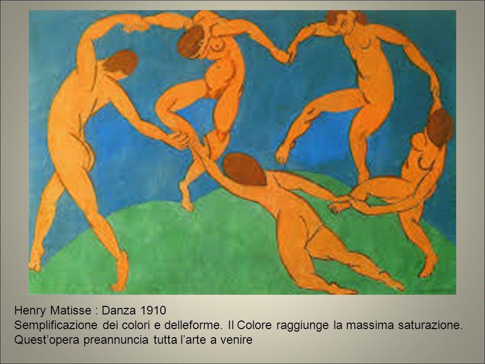 Henry Matisse : Danza 1910 Semplificazione dei colori e delleforme. Il Colore raggiunge la massima saturazione. Quest'opera preannuncia tutta l'arte a