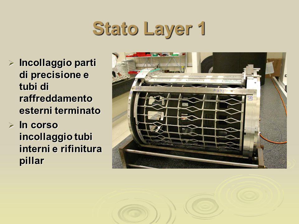 Stato Layer 1  Incollaggio parti di precisione e tubi di raffreddamento esterni terminato  In corso incollaggio tubi interni e rifinitura pillar