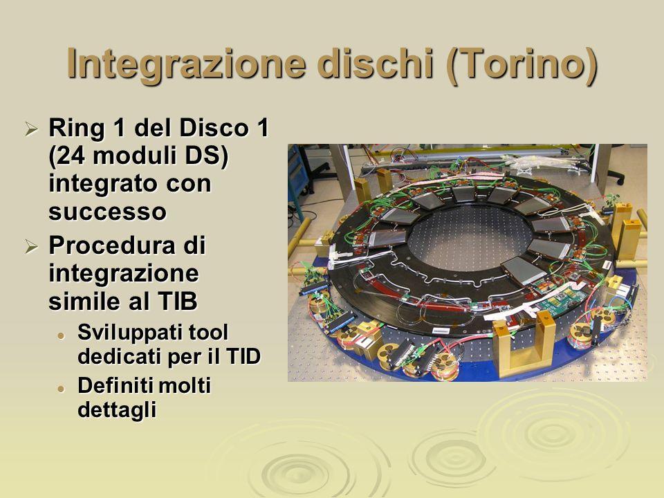 Integrazione dischi (Torino)  Ring 1 del Disco 1 (24 moduli DS) integrato con successo  Procedura di integrazione simile al TIB Sviluppati tool dedicati per il TID Sviluppati tool dedicati per il TID Definiti molti dettagli Definiti molti dettagli