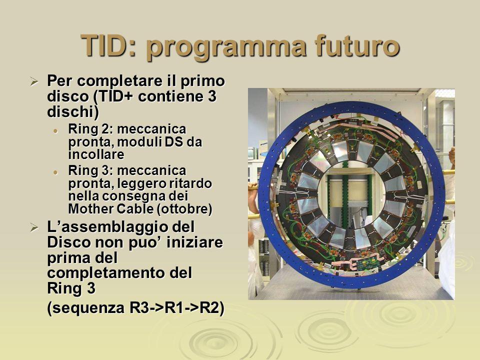 TID: programma futuro  Per completare il primo disco (TID+ contiene 3 dischi) Ring 2: meccanica pronta, moduli DS da incollare Ring 2: meccanica pronta, moduli DS da incollare Ring 3: meccanica pronta, leggero ritardo nella consegna dei Mother Cable (ottobre) Ring 3: meccanica pronta, leggero ritardo nella consegna dei Mother Cable (ottobre)  L'assemblaggio del Disco non puo' iniziare prima del completamento del Ring 3 (sequenza R3->R1->R2) (sequenza R3->R1->R2)