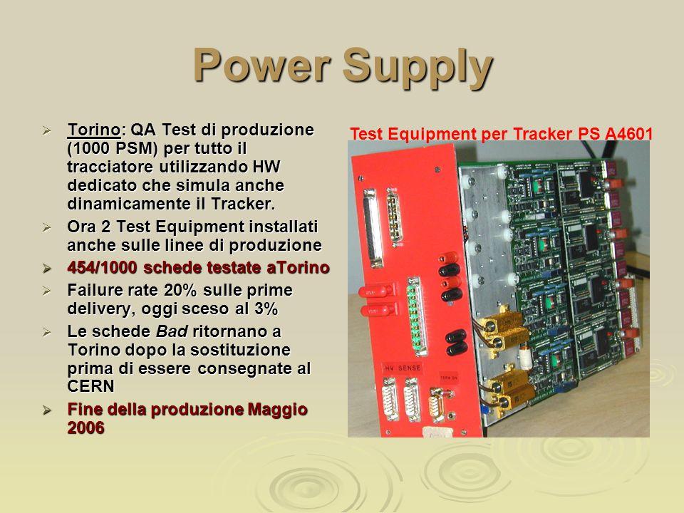 Power Supply  Torino: QA Test di produzione (1000 PSM) per tutto il tracciatore utilizzando HW dedicato che simula anche dinamicamente il Tracker.