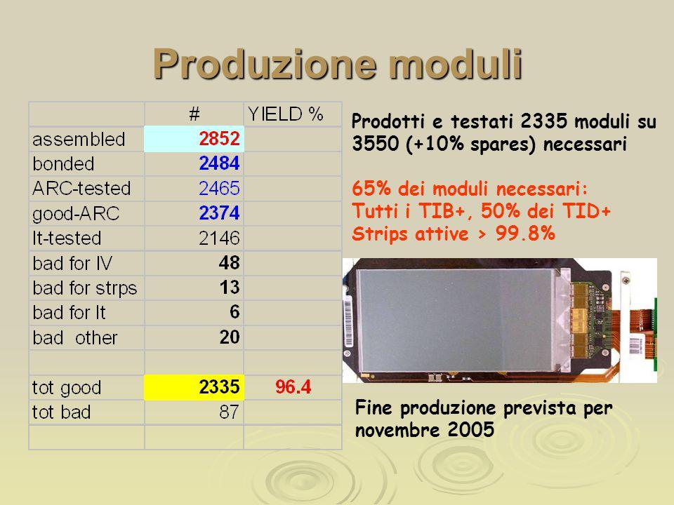 Produzione moduli Prodotti e testati 2335 moduli su 3550 (+10% spares) necessari 65% dei moduli necessari: Tutti i TIB+, 50% dei TID+ Strips attive > 99.8% Fine produzione prevista per novembre 2005